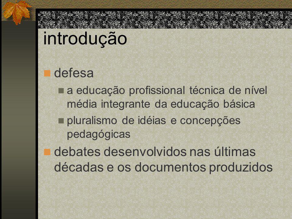 introdução defesa a educação profissional técnica de nível média integrante da educação básica pluralismo de idéias e concepções pedagógicas debates desenvolvidos nas últimas décadas e os documentos produzidos