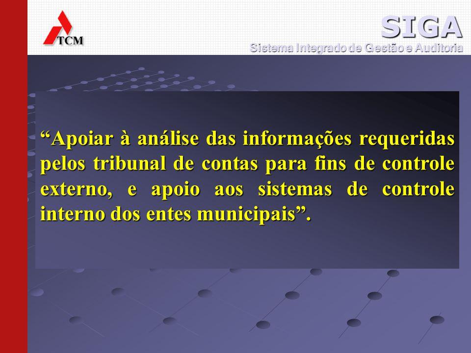 Apoiar à análise das informações requeridas pelos tribunal de contas para fins de controle externo, e apoio aos sistemas de controle interno dos entes municipais.