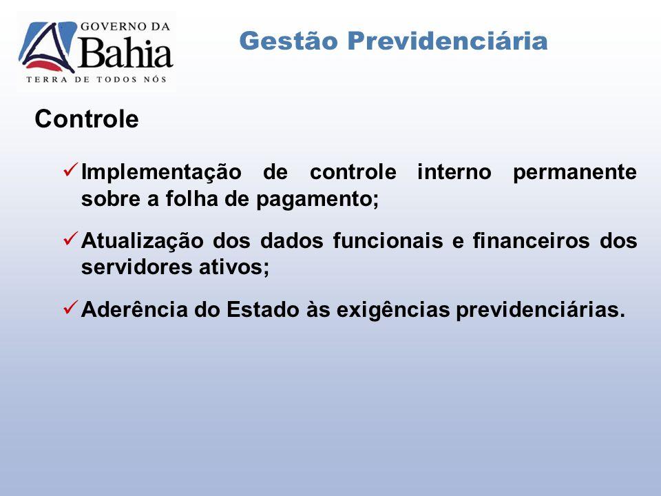 Controle Gestão Previdenciária Implementação de controle interno permanente sobre a folha de pagamento; Atualização dos dados funcionais e financeiros dos servidores ativos; Aderência do Estado às exigências previdenciárias.