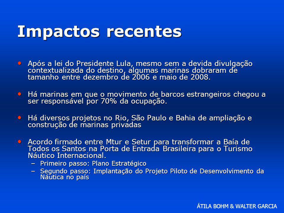 ÁTILA BOHM & WALTER GARCIA Impactos recentes Após a lei do Presidente Lula, mesmo sem a devida divulgação contextualizada do destino, algumas marinas