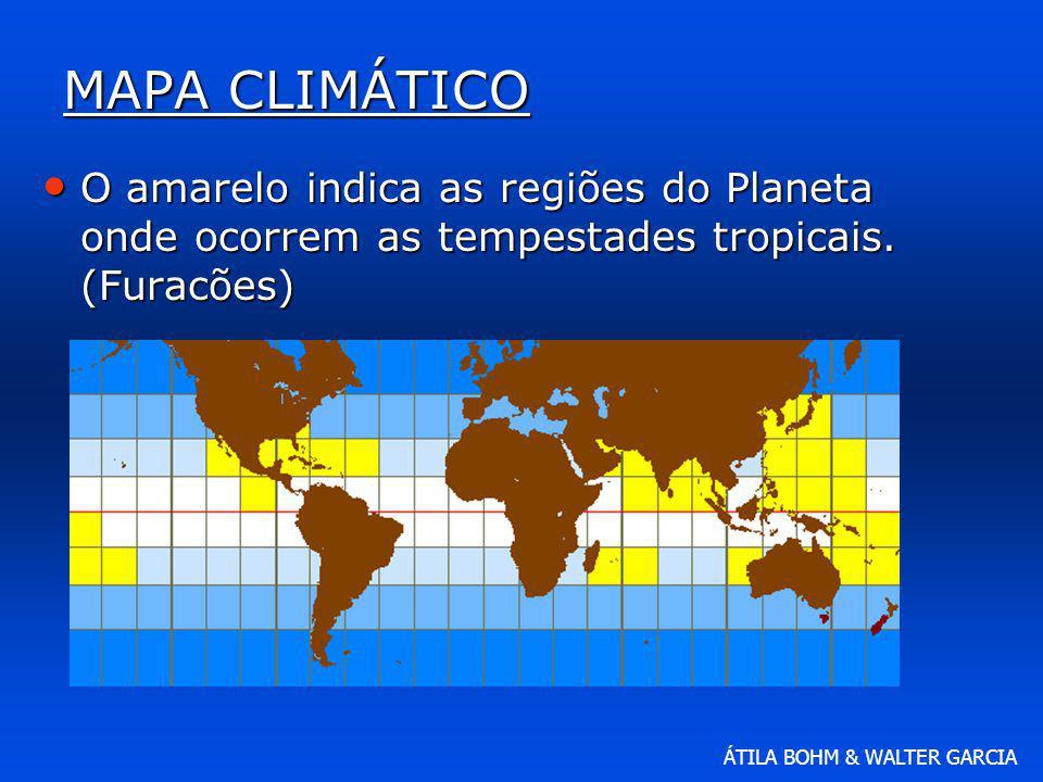 ÁTILA BOHM & WALTER GARCIA MAPA CLIMÁTICO O amarelo indica as regiões do Planeta onde ocorrem as tempestades tropicais. (Furacões) O amarelo indica as