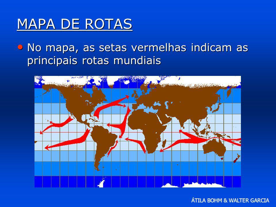 ÁTILA BOHM & WALTER GARCIA MAPA DE ROTAS No mapa, as setas vermelhas indicam as principais rotas mundiais No mapa, as setas vermelhas indicam as princ