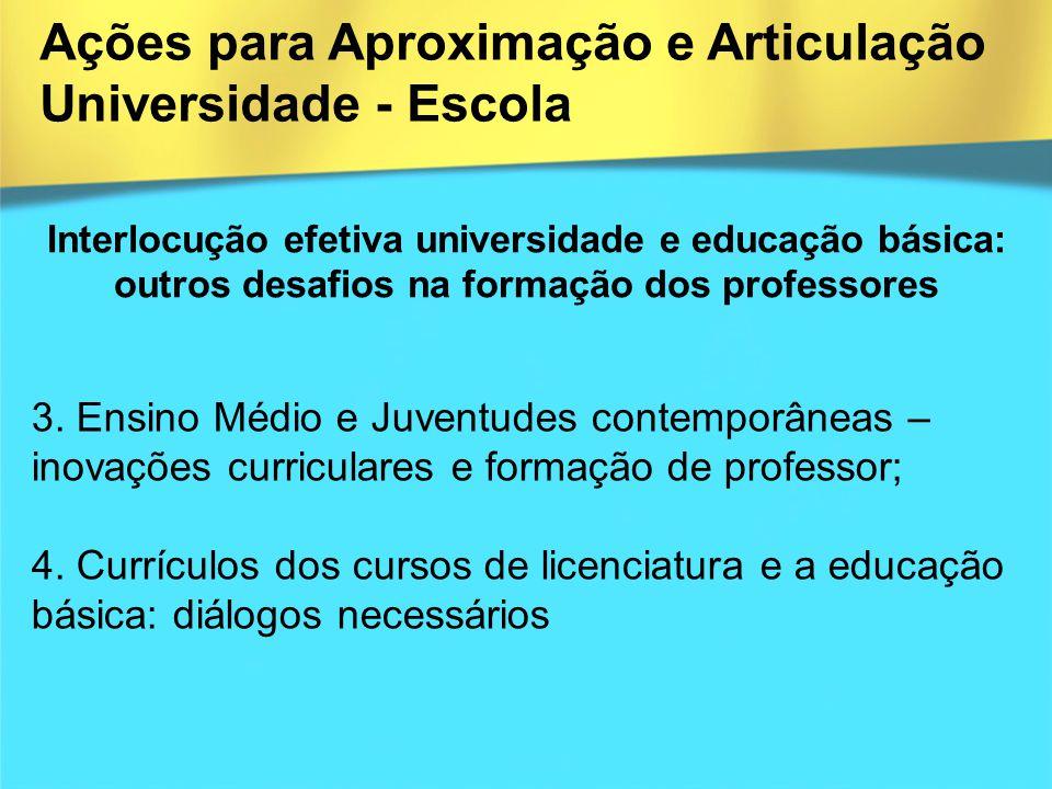 Interlocução efetiva universidade e educação básica: outros desafios na formação dos professores 3. Ensino Médio e Juventudes contemporâneas – inovaçõ