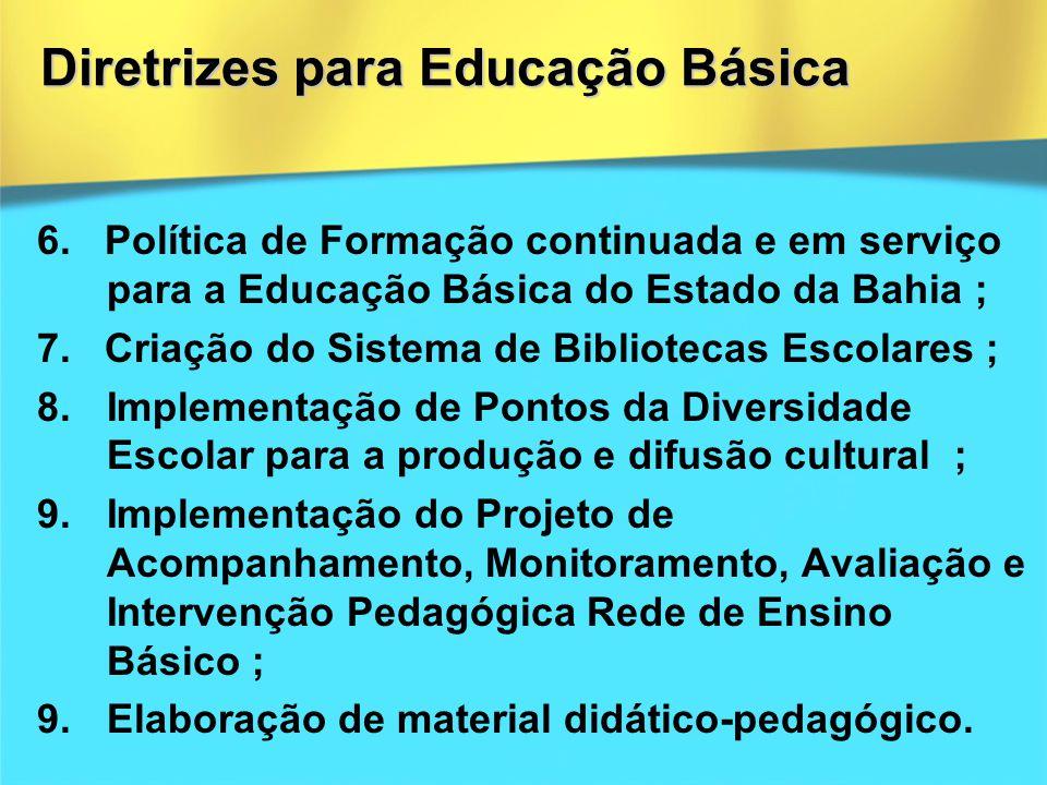 6. Política de Formação continuada e em serviço para a Educação Básica do Estado da Bahia ; 7. Criação do Sistema de Bibliotecas Escolares ; 8.Impleme