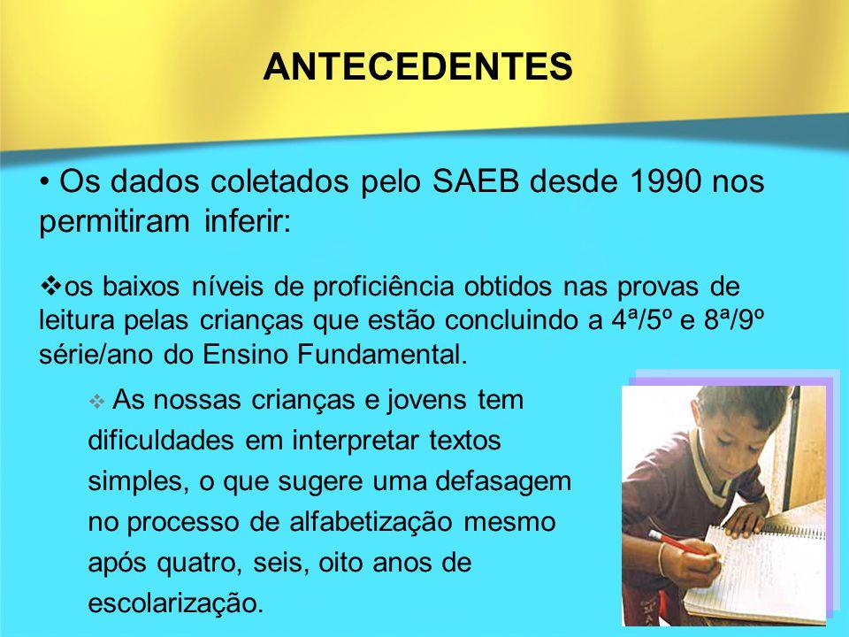 ANTECEDENTES Os dados coletados pelo SAEB desde 1990 nos permitiram inferir: os baixos níveis de proficiência obtidos nas provas de leitura pelas cria