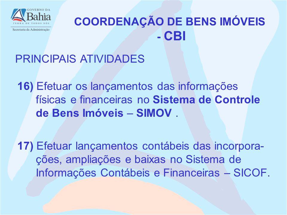 16) Efetuar os lançamentos das informações físicas e financeiras no Sistema de Controle de Bens Imóveis – SIMOV. COORDENAÇÃO DE BENS IMÓVEIS - CBI PRI