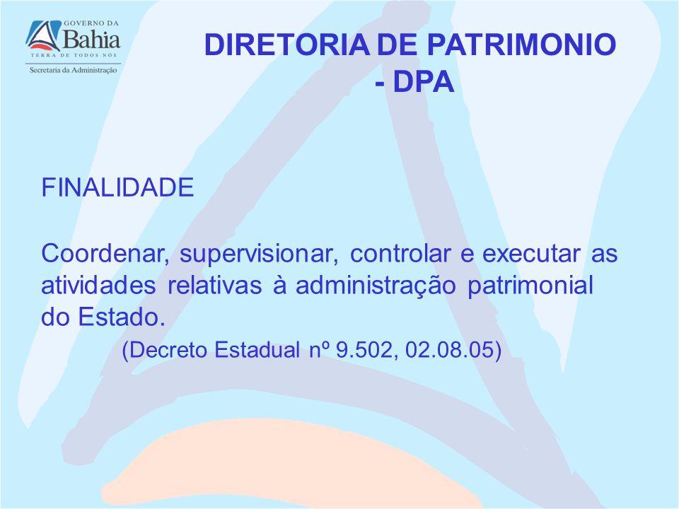 FINALIDADE DIRETORIA DE PATRIMONIO - DPA Coordenar, supervisionar, controlar e executar as atividades relativas à administração patrimonial do Estado.