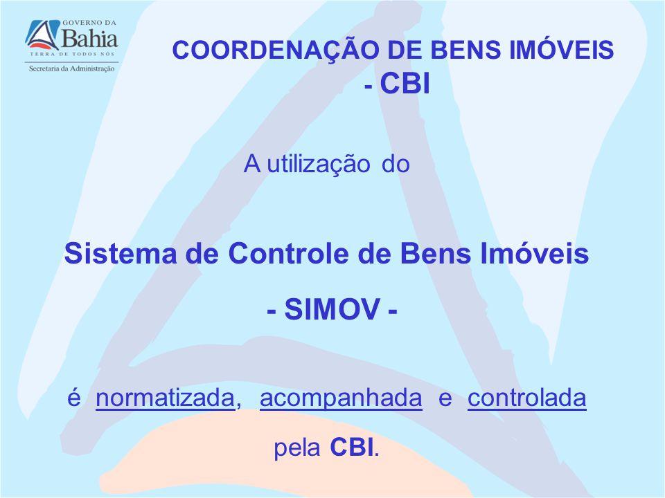 A utilização do Sistema de Controle de Bens Imóveis - SIMOV - é normatizada, acompanhada e controlada pela CBI. COORDENAÇÃO DE BENS IMÓVEIS - CBI