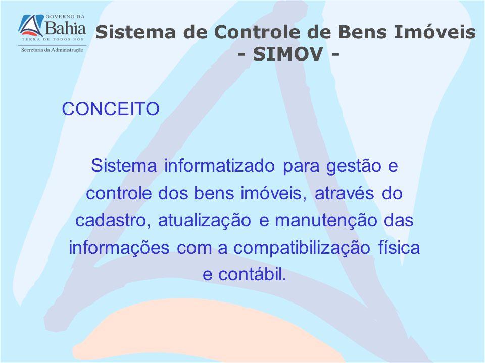 Sistema de Controle de Bens Imóveis - SIMOV - Sistema informatizado para gestão e controle dos bens imóveis, através do cadastro, atualização e manutenção das informações com a compatibilização física e contábil.