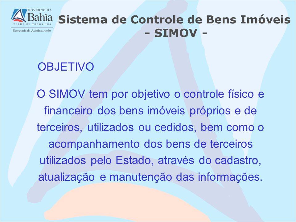 O SIMOV tem por objetivo o controle físico e financeiro dos bens imóveis próprios e de terceiros, utilizados ou cedidos, bem como o acompanhamento dos bens de terceiros utilizados pelo Estado, através do cadastro, atualização e manutenção das informações.