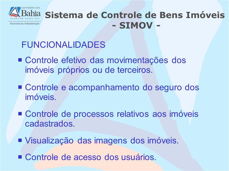 FUNCIONALIDADES Controle de acesso dos usuários. Controle efetivo das movimentações dos imóveis próprios ou de terceiros. Controle e acompanhamento do