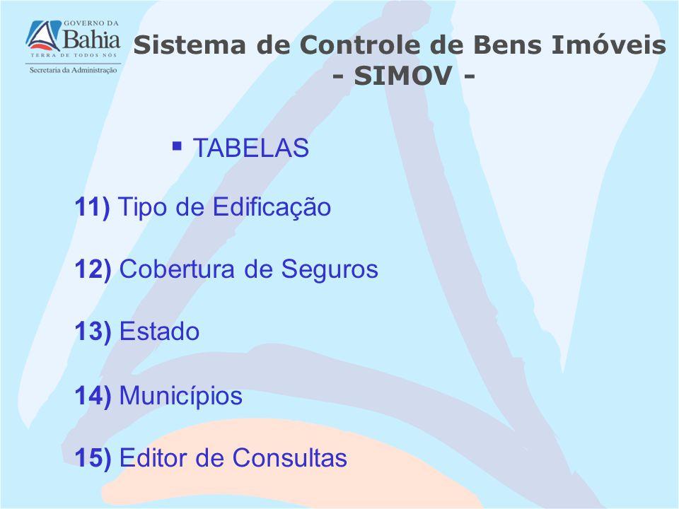 12) Cobertura de Seguros 14) Municípios 13) Estado 15) Editor de Consultas Sistema de Controle de Bens Imóveis - SIMOV - 11) Tipo de Edificação TABELA
