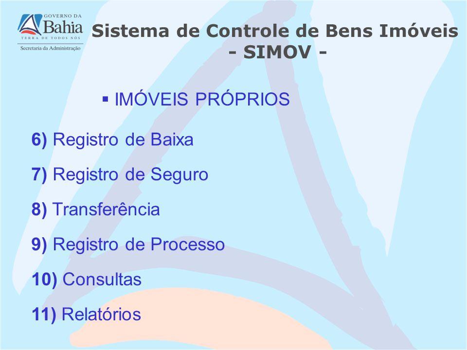 IMÓVEIS PRÓPRIOS 7) Registro de Seguro Sistema de Controle de Bens Imóveis - SIMOV - 6) Registro de Baixa 8) Transferência 9) Registro de Processo 10) Consultas 11) Relatórios