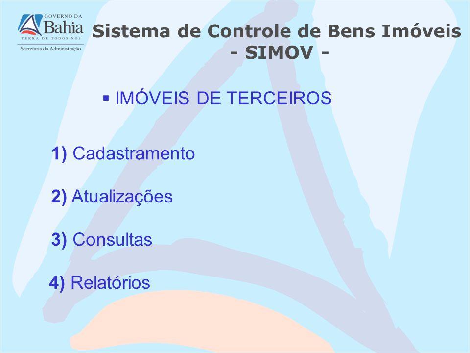 1) Cadastramento IMÓVEIS DE TERCEIROS 3) Consultas 2) Atualizações 4) Relatórios Sistema de Controle de Bens Imóveis - SIMOV -