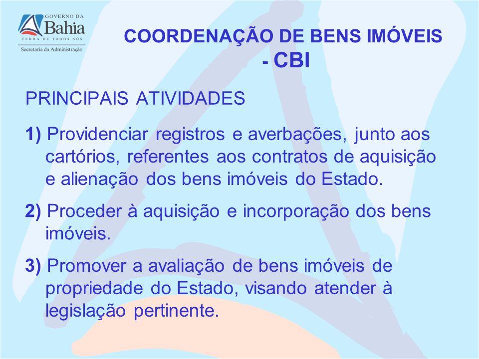 PRINCIPAIS ATIVIDADES COORDENAÇÃO DE BENS IMÓVEIS - CBI 1) Providenciar registros e averbações, junto aos cartórios, referentes aos contratos de aquisição e alienação dos bens imóveis do Estado.