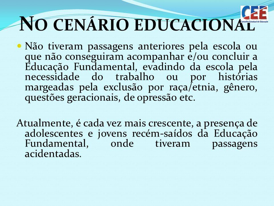N O CENÁRIO EDUCACIONAL Não tiveram passagens anteriores pela escola ou que não conseguiram acompanhar e/ou concluir a Educação Fundamental, evadindo