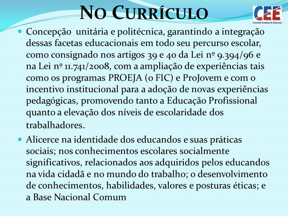 N O C URRÍCULO Concepção unitária e politécnica, garantindo a integração dessas facetas educacionais em todo seu percurso escolar, como consignado nos