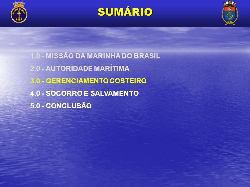 SUMÁRIO 1.0 - MISSÃO DA MARINHA DO BRASIL 2.0 - AUTORIDADE MARÍTIMA 3.0 - GERENCIAMENTO COSTEIRO 4.0 - SOCORRO E SALVAMENTO 5.0 - CONCLUSÃO