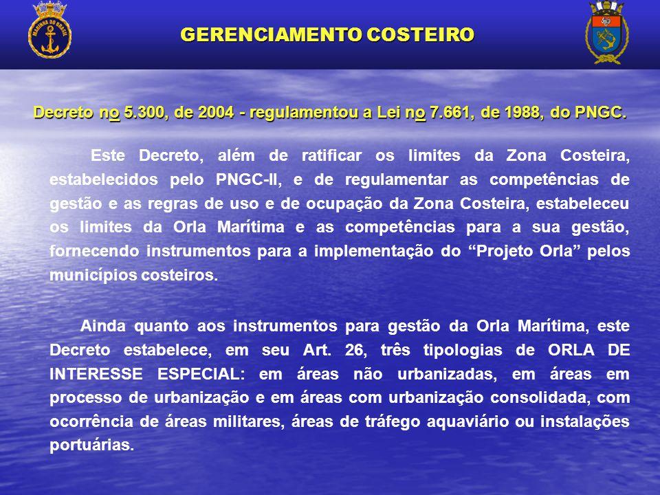 Este Decreto, além de ratificar os limites da Zona Costeira, estabelecidos pelo PNGC-II, e de regulamentar as competências de gestão e as regras de us