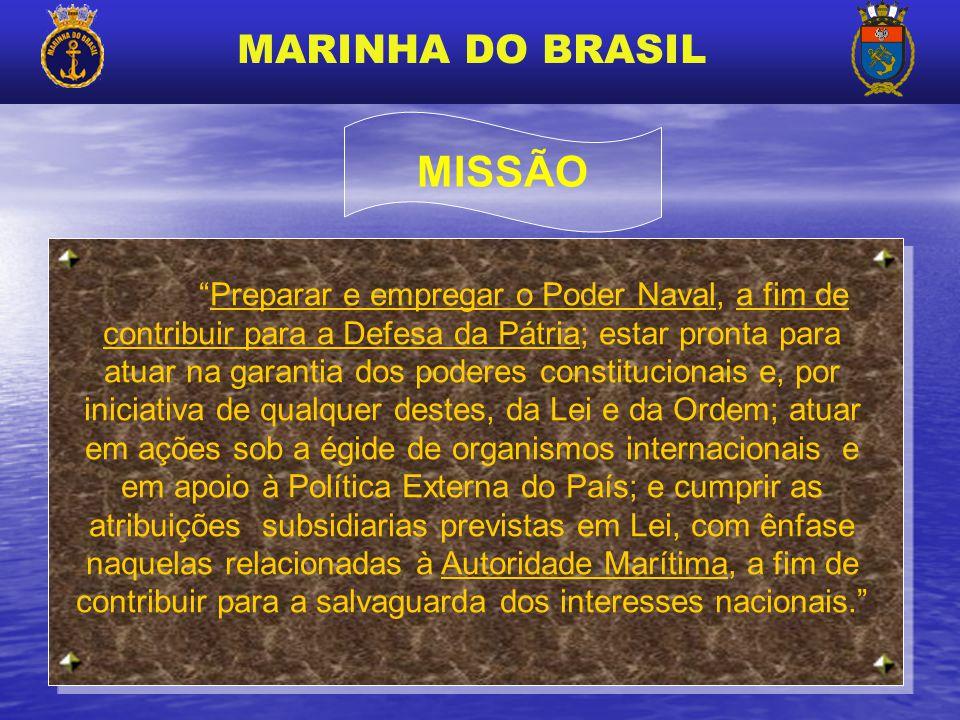 MARINHA DO BRASIL Preparar e empregar o Poder Naval, a fim de contribuir para a Defesa da Pátria; estar pronta para atuar na garantia dos poderes cons