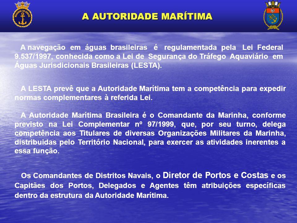 A navegação em águas brasileiras é regulamentada pela Lei Federal 9.537/1997, conhecida como a Lei de Segurança do Tráfego Aquaviário em Águas Jurisdi