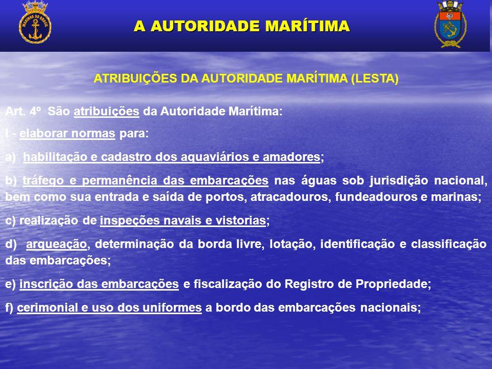 ATRIBUIÇÕES DA AUTORIDADE MARÍTIMA (LESTA) Art. 4º São atribuições da Autoridade Marítima: I - elaborar normas para: a) habilitação e cadastro dos aqu