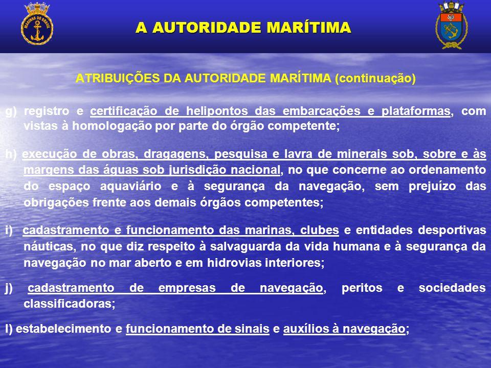 ATRIBUIÇÕES DA AUTORIDADE MARÍTIMA (continuação) g) registro e certificação de helipontos das embarcações e plataformas, com vistas à homologação por