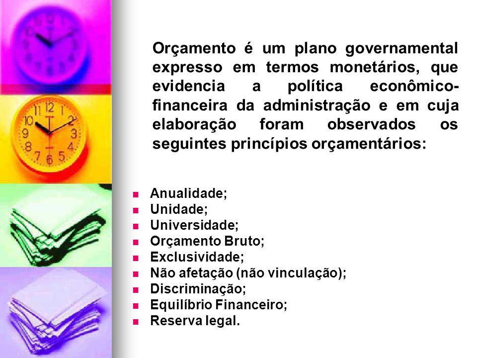 Anualidade; Unidade; Universidade; Orçamento Bruto; Exclusividade; Não afetação (não vinculação); Discriminação; Equilíbrio Financeiro; Reserva legal.