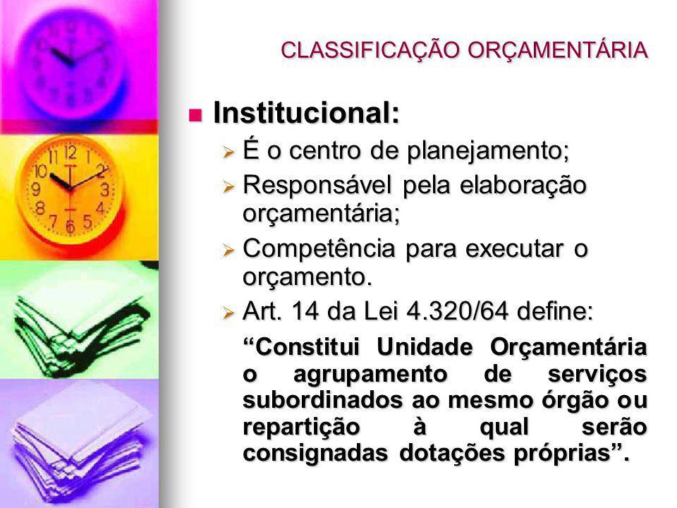CLASSIFICAÇÃO ORÇAMENTÁRIA Institucional: Institucional: É o centro de planejamento; É o centro de planejamento; Responsável pela elaboração orçamentária; Responsável pela elaboração orçamentária; Competência para executar o orçamento.