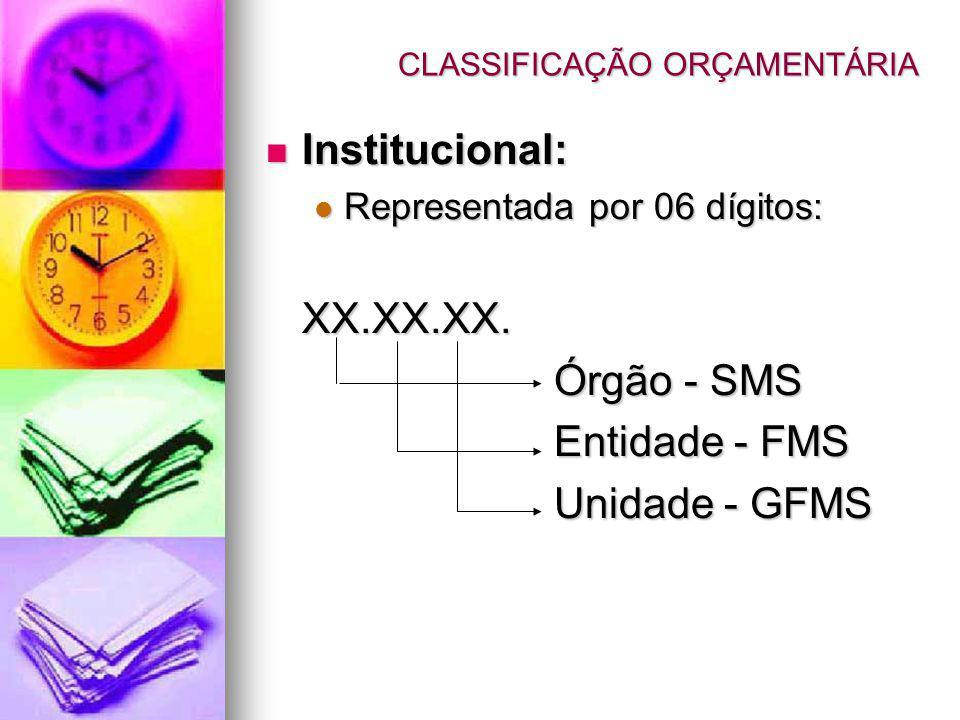Institucional: Institucional: Representada por 06 dígitos: Representada por 06 dígitos:XX.XX.XX. Órgão - SMS Entidade - FMS Unidade - GFMS CLASSIFICAÇ