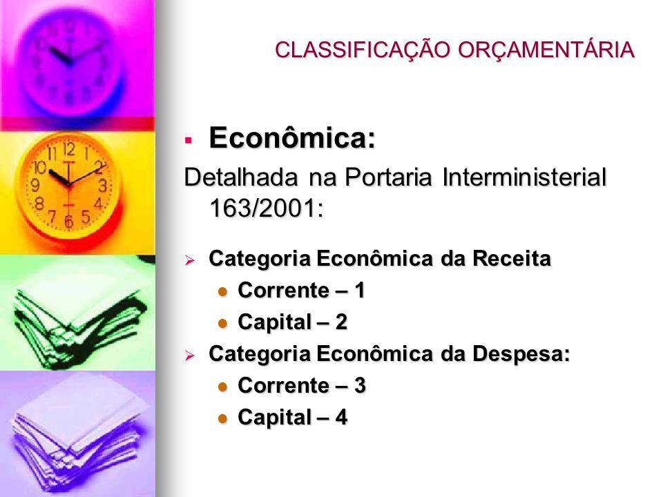 CLASSIFICAÇÃO ORÇAMENTÁRIA Econômica: Econômica: Detalhada na Portaria Interministerial 163/2001: Categoria Econômica da Receita Categoria Econômica da Receita Corrente – 1 Corrente – 1 Capital – 2 Capital – 2 Categoria Econômica da Despesa: Categoria Econômica da Despesa: Corrente – 3 Corrente – 3 Capital – 4 Capital – 4