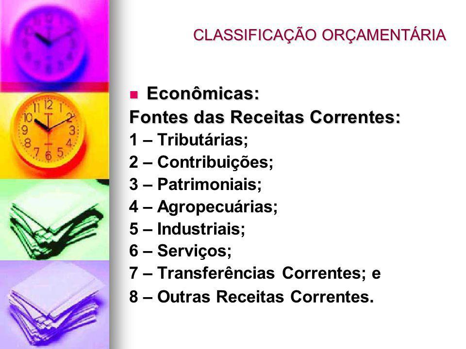 Econômicas: Econômicas: Fontes das Receitas Correntes: 1 – Tributárias; 2 – Contribuições; 3 – Patrimoniais; 4 – Agropecuárias; 5 – Industriais; 6 – Serviços; 7 – Transferências Correntes; e 8 – Outras Receitas Correntes.