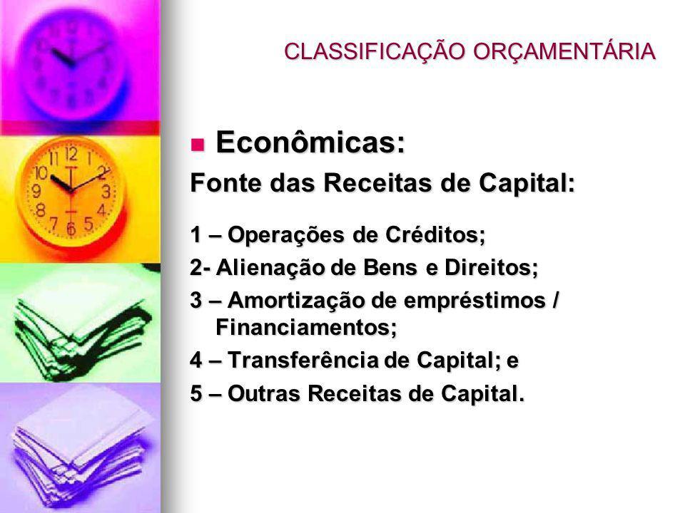 Econômicas: Econômicas: Fonte das Receitas de Capital: 1 – Operações de Créditos; 2- Alienação de Bens e Direitos; 3 – Amortização de empréstimos / Financiamentos; 4 – Transferência de Capital; e 5 – Outras Receitas de Capital.