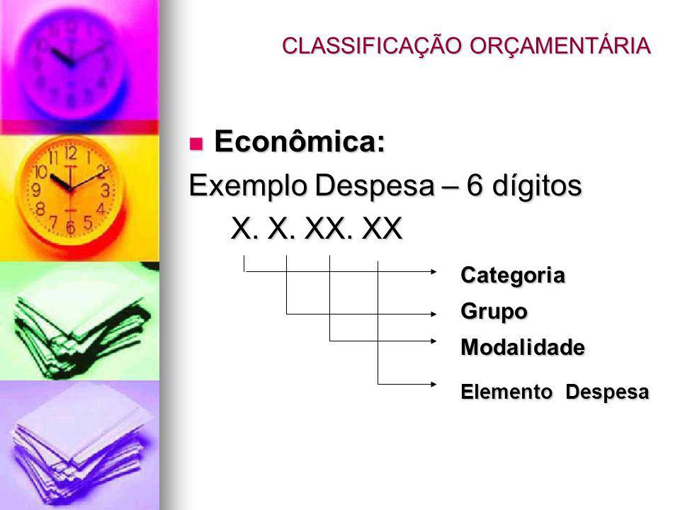 CLASSIFICAÇÃO ORÇAMENTÁRIA Econômica: Econômica: Exemplo Despesa – 6 dígitos X. X. XX. XX X. X. XX. XX Categoria Grupo Modalidade Elemento Despesa