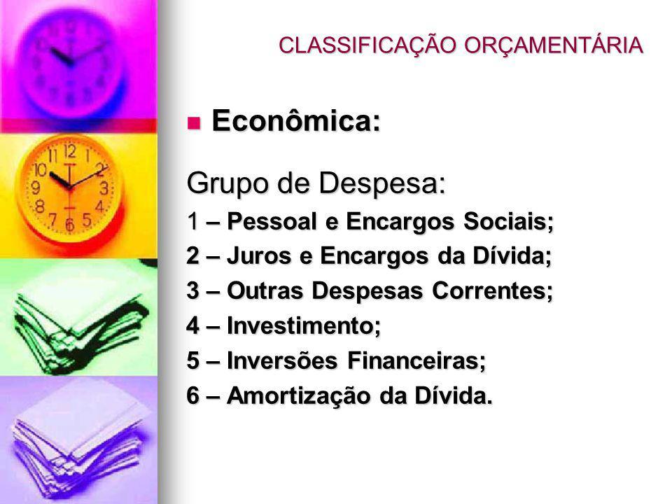 Econômica: Econômica: Grupo de Despesa: 1 – Pessoal e Encargos Sociais; 2 – Juros e Encargos da Dívida; 3 – Outras Despesas Correntes; 4 – Investimento; 5 – Inversões Financeiras; 6 – Amortização da Dívida.
