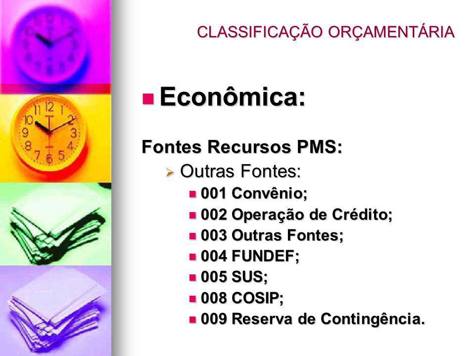 CLASSIFICAÇÃO ORÇAMENTÁRIA Econômica: Econômica: Fontes Recursos PMS: Outras Fontes: Outras Fontes: 001 Convênio; 001 Convênio; 002 Operação de Crédit