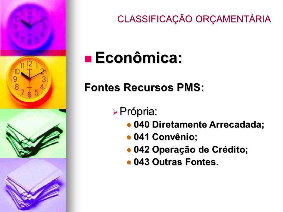 CLASSIFICAÇÃO ORÇAMENTÁRIA Econômica: Econômica: Fontes Recursos PMS: Própria: Própria: 040 Diretamente Arrecadada; 040 Diretamente Arrecadada; 041 Co