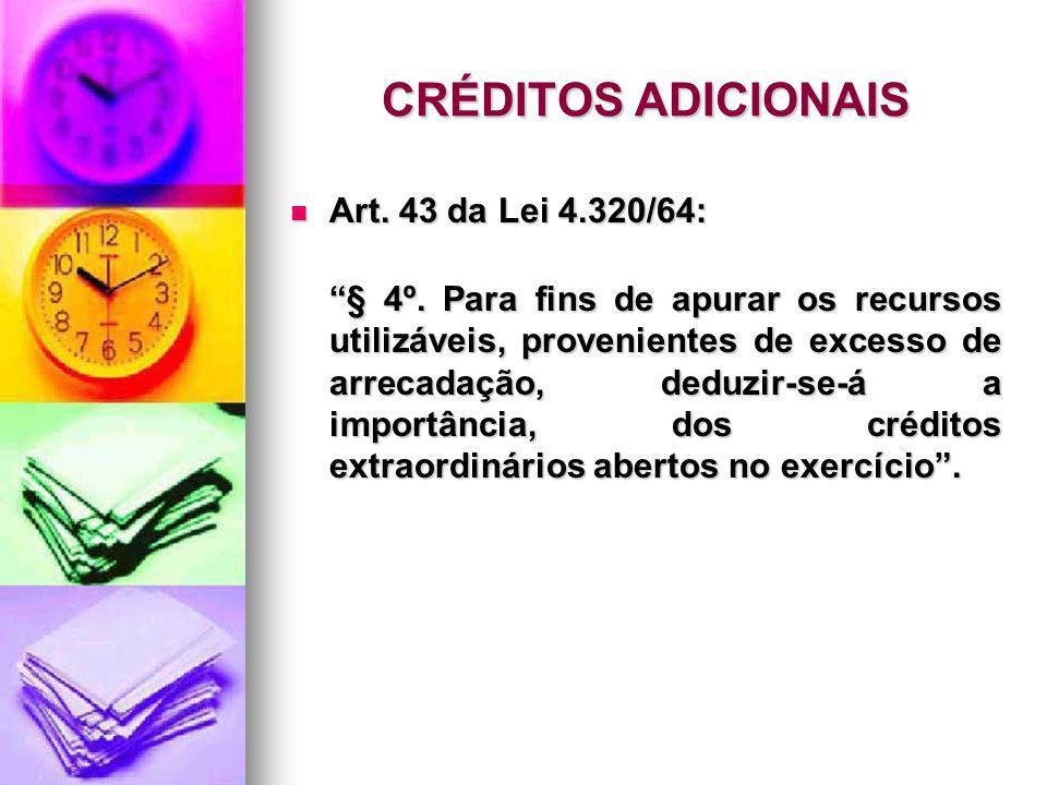 CRÉDITOS ADICIONAIS Art. 43 da Lei 4.320/64: Art. 43 da Lei 4.320/64: § 4º. Para fins de apurar os recursos utilizáveis, provenientes de excesso de ar