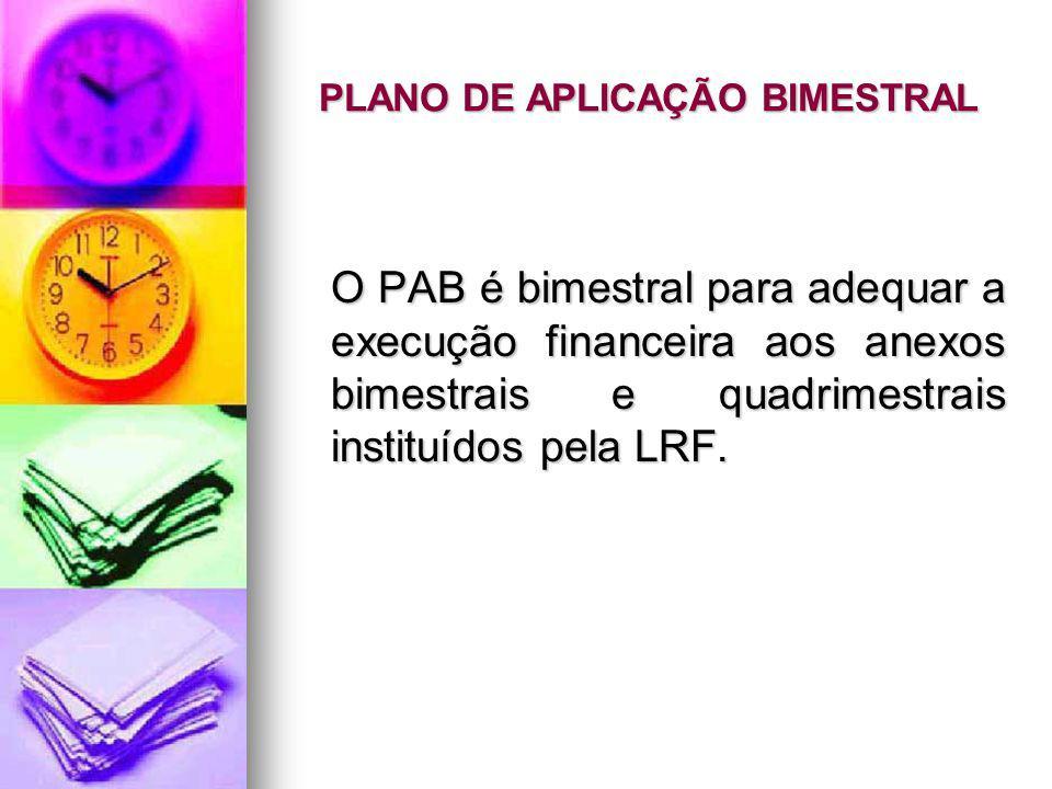 PLANO DE APLICAÇÃO BIMESTRAL O PAB é bimestral para adequar a execução financeira aos anexos bimestrais e quadrimestrais instituídos pela LRF.