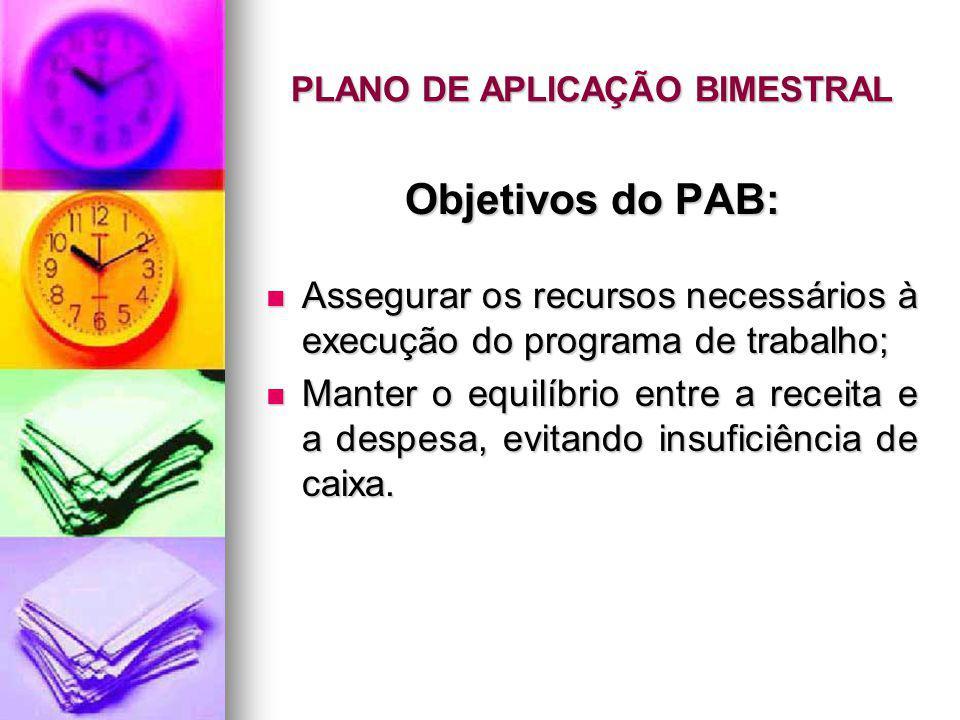 PLANO DE APLICAÇÃO BIMESTRAL Objetivos do PAB: Assegurar os recursos necessários à execução do programa de trabalho; Assegurar os recursos necessários