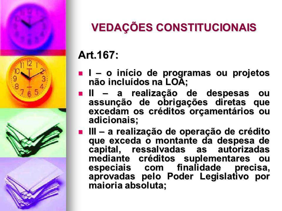 VEDAÇÕES CONSTITUCIONAIS Art.167: I – o início de programas ou projetos não incluídos na LOA; I – o início de programas ou projetos não incluídos na L