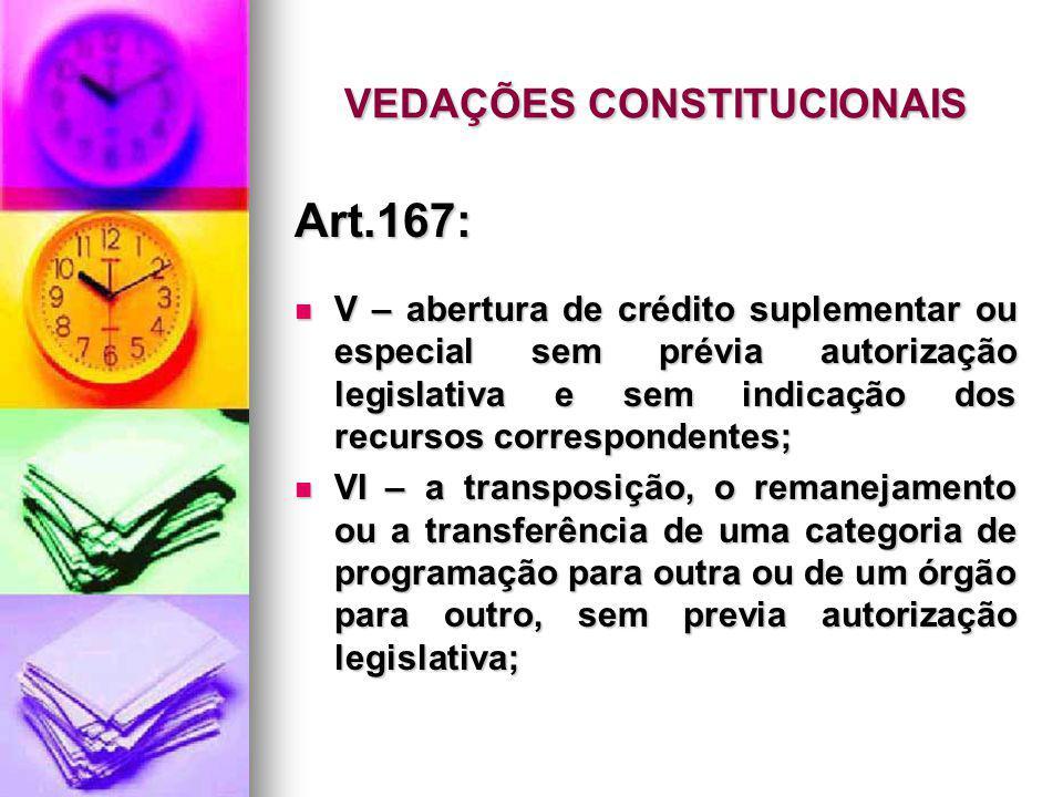 VEDAÇÕES CONSTITUCIONAIS Art.167: V – abertura de crédito suplementar ou especial sem prévia autorização legislativa e sem indicação dos recursos corr