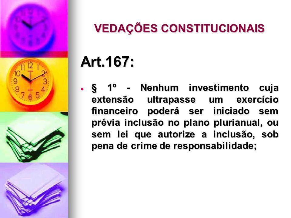 VEDAÇÕES CONSTITUCIONAIS Art.167: § 1º - Nenhum investimento cuja extensão ultrapasse um exercício financeiro poderá ser iniciado sem prévia inclusão