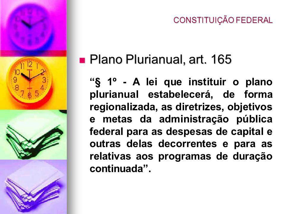 Plano Plurianual, art. 165 Plano Plurianual, art. 165 § 1º - A lei que instituir o plano plurianual estabelecerá, de forma regionalizada, as diretrize