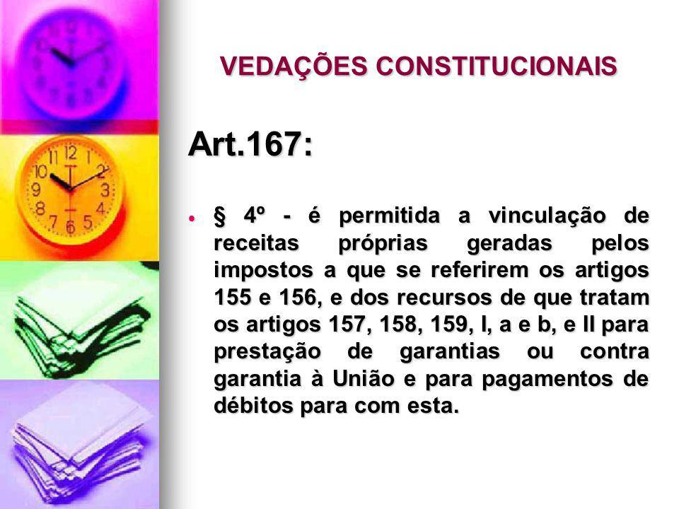 VEDAÇÕES CONSTITUCIONAIS Art.167: § 4º - é permitida a vinculação de receitas próprias geradas pelos impostos a que se referirem os artigos 155 e 156,