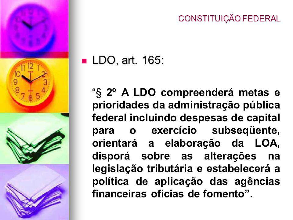 LDO, art. 165: LDO, art. 165: § 2º A LDO compreenderá metas e prioridades da administração pública federal incluindo despesas de capital para o exercí
