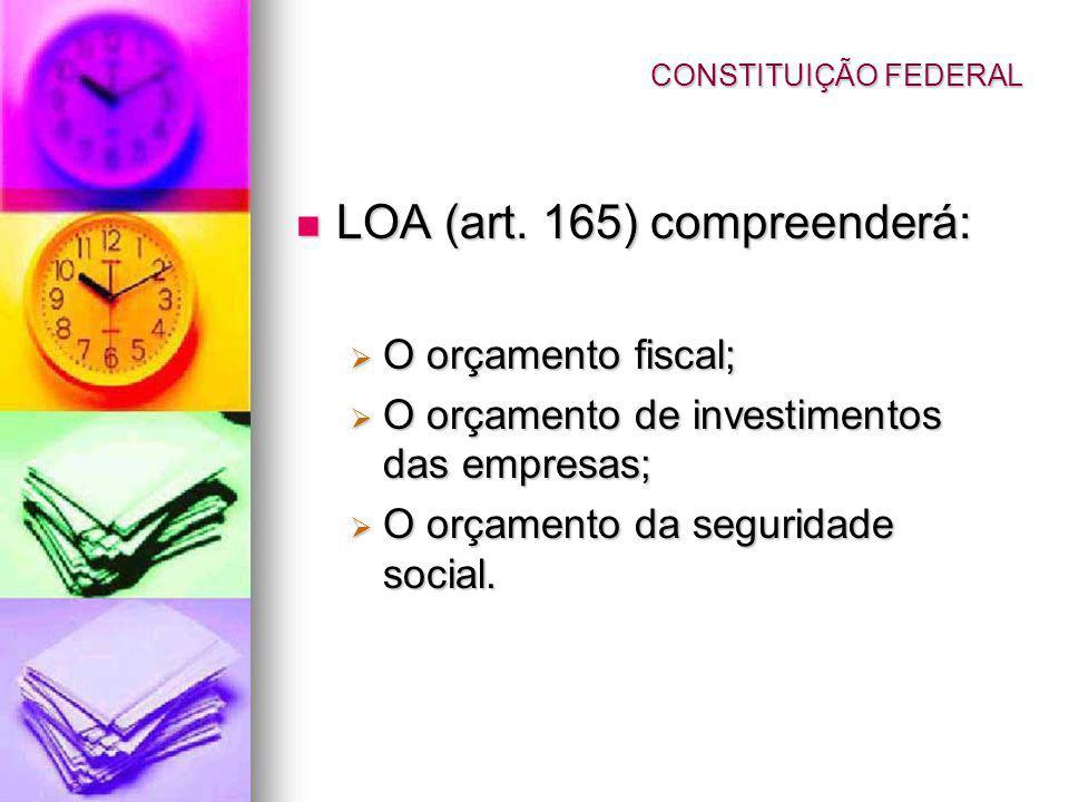 LOA (art. 165) compreenderá: LOA (art. 165) compreenderá: O orçamento fiscal; O orçamento fiscal; O orçamento de investimentos das empresas; O orçamen