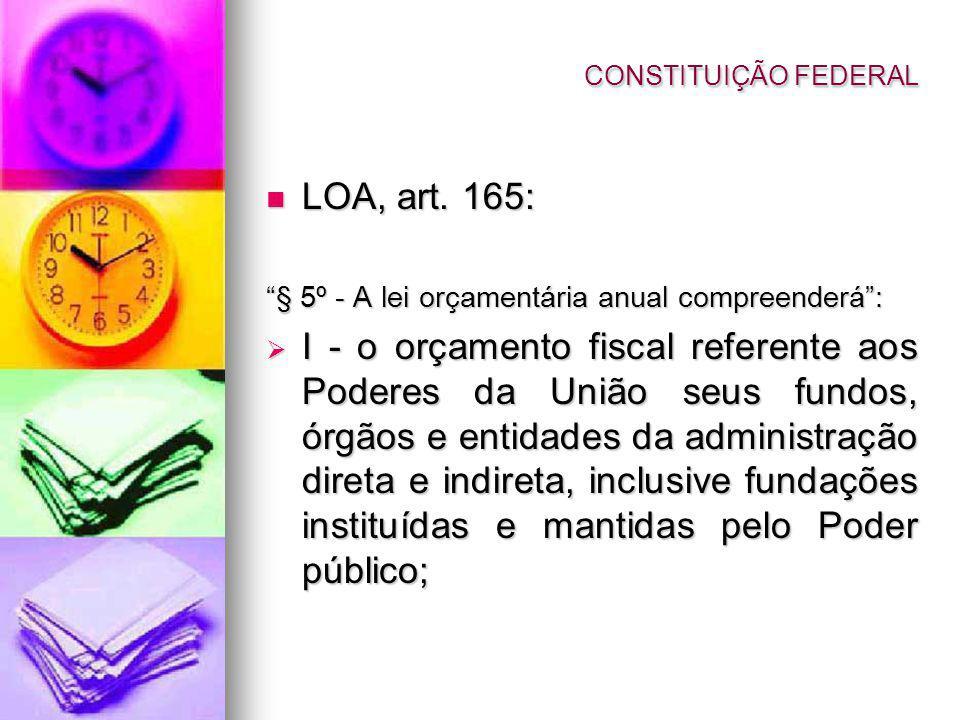 LOA, art. 165: LOA, art. 165: § 5º - A lei orçamentária anual compreenderá: I - o orçamento fiscal referente aos Poderes da União seus fundos, órgãos