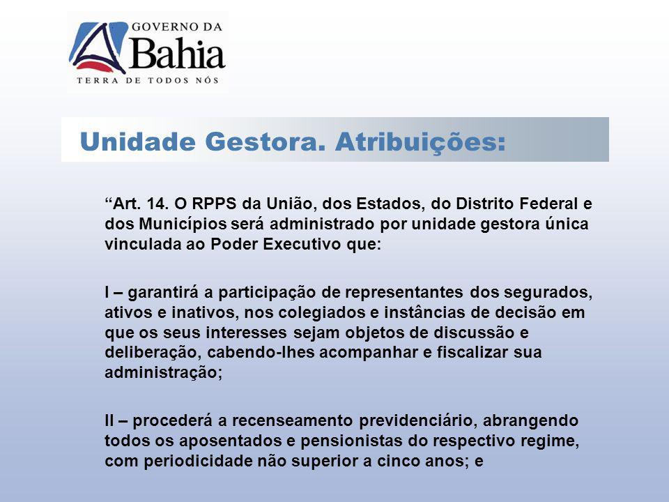 Unidade Gestora. Atribuições: Art. 14. O RPPS da União, dos Estados, do Distrito Federal e dos Municípios será administrado por unidade gestora única