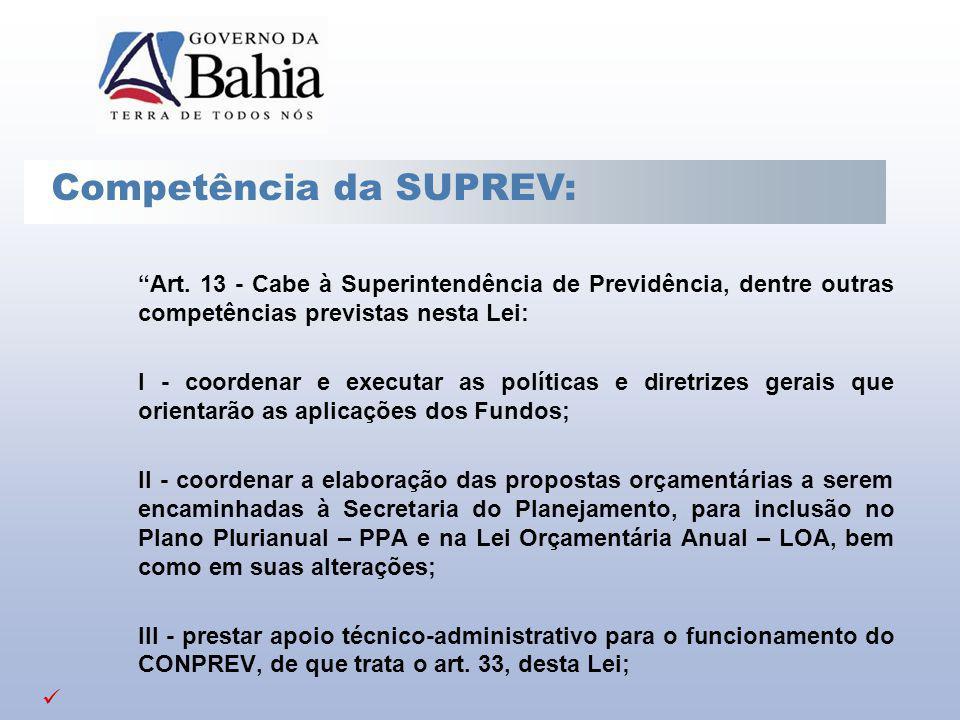 Art. 13 - Cabe à Superintendência de Previdência, dentre outras competências previstas nesta Lei: I - coordenar e executar as políticas e diretrizes g